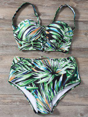 Ensemble De Bikini à Lacets Taille Haute Imprimé Plante - Vert L