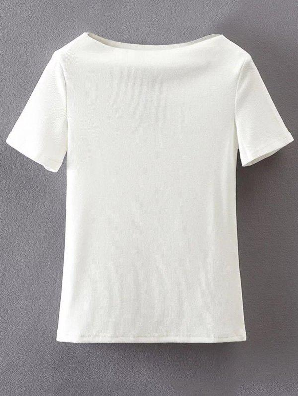 T-Shirt en coton à manches courtes à encolure bateau