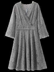 فستان سوينغ دانتيل لف هامشي - رمادي M