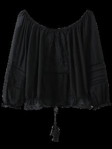 Off The Shoulder Embroidered Fringed Blouse - Black S
