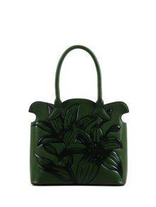 زهرة تنقش صدفي حقيبة يد - أخضر