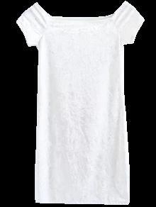 فستان مصغر مخملي بلا اكتاف مريح - أبيض M