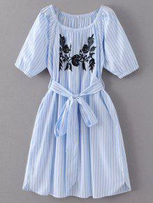 Striped Floral Embroidered Dress - Light Blue S