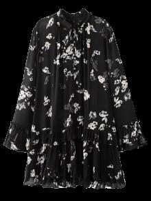 Robe à Fleur Col Volant à Plis - Noir S