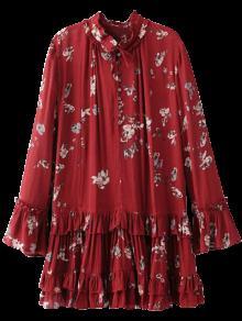 Robe à Fleur Col Volant à Plis - Bourgogne S