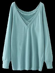 Eyelash Lace Long Pullover Sweatshirt - Light Green L