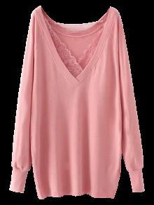 Eyelash Lace Long Pullover Sweatshirt - Pink S