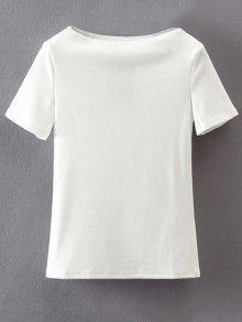 Slash Neck Short Sleeve Cotton T-Shirt - White S