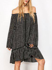Robe Tunique épaules Dénudées Imprimée - Noir M