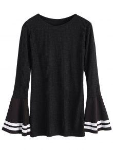 Contrasting Bell Sleeve Layering Top - Black S