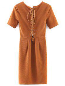 Ate Para Arriba Detrás Mini Vestido Bodycon - Amarillo Naranja M