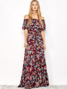 9cf43a02e760 38% OFF  2019 Ruffles Maxi Off The Shoulder Dress In FLORAL