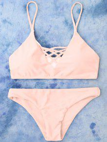 Lace Up Bikini Swimwear - Pink M