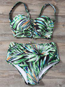 Ate Para Arriba Impreso De Alta De La Cintura Del Bikini Set - Verde Xl