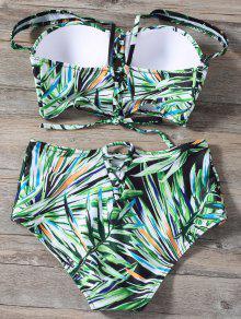 58344e384ca45 13% OFF] 2019 Lace Up Printed High Waist Bikini Set In GREEN | ZAFUL