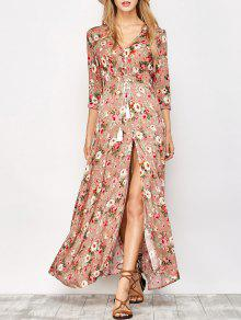 Front Button Maxi Floral V Neck Dress - Floral L