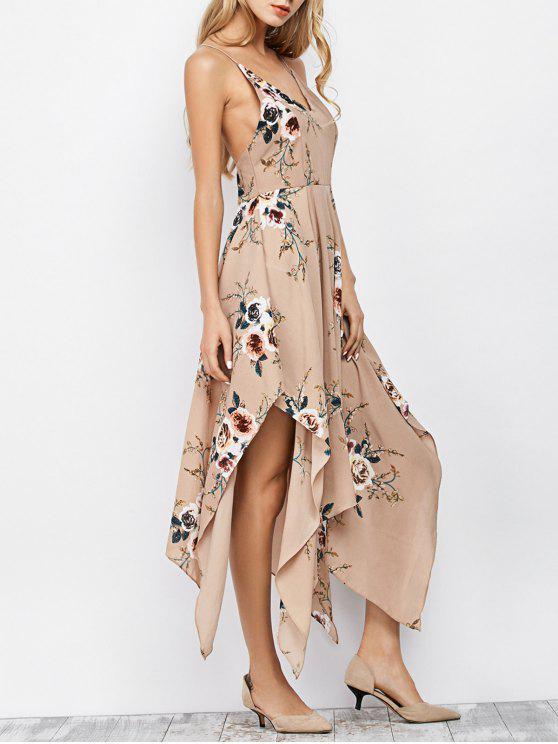 Robe maxi asymétrique casual à bretelles fines imprimé fleur - Abricot L