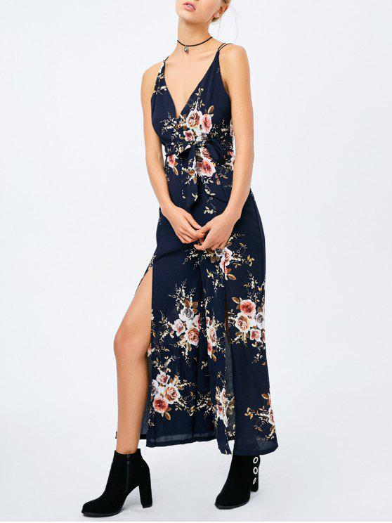 best Criss Cross High Slit Maxi Floral Flowy Jumpsuit - PURPLISH BLUE XL