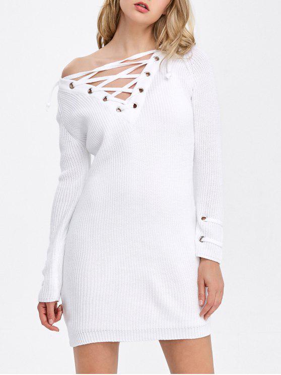 طويل الأكمام الدانتيل متابعة مضلع اللباس تونك - أبيض XL