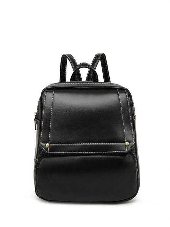 lady Preppy Faux Leather Backpack - BLACK