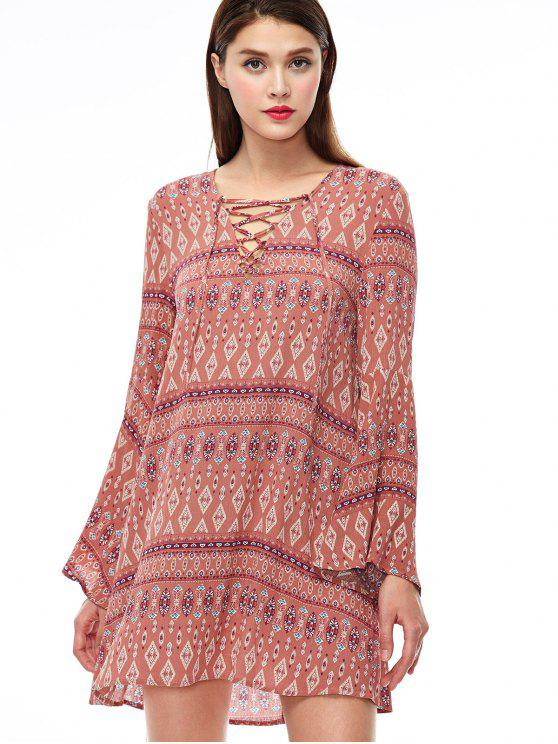 unique Lace Up Printed Bell Sleeve Dress - CORAL PINK M