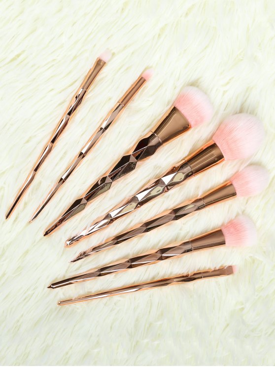 trendy 7 Pcs Rhombus Makeup Brushes Set - ROSE GOLD