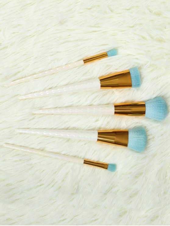 fancy 5 Pcs Makeup Brushes Set - WHITE