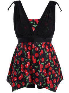 Plus Size Cherry Print Wire Free Tankini Set - Black And Red 2xl