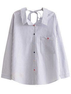 String Striped Casual Shirt - Blue S