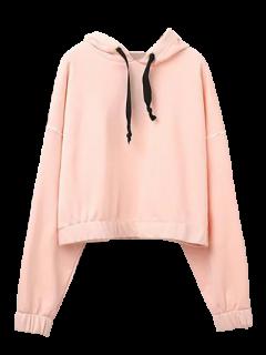 Batwing Sleeve Cropped Hoodie - Pink S