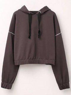 Batwing Sleeve Cropped Hoodie - Brown S