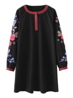 Vintage Floral Embroidered Mini Dress - Black M