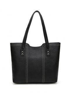 Stitching Textured Shoulder Bag - Black