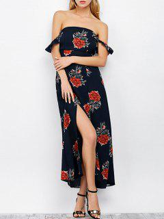Maxi Floral Backless Off Shoulder Slit Dress - Purplish Blue S