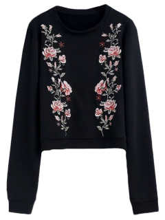 Relaxed Crew Neck Embroidered Sweatshirt - Black S
