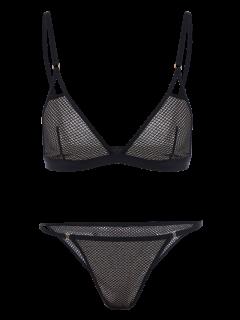 Plunge Bra And V String Panty - Black Xl