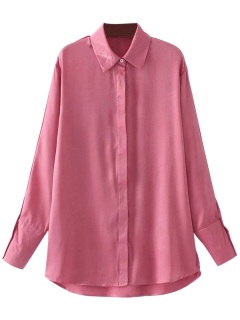 Sateen Blumen Gesticktes Hemd - Pink M