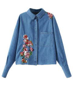 Oversized Embroidered Denim Shirt - Denim Blue S