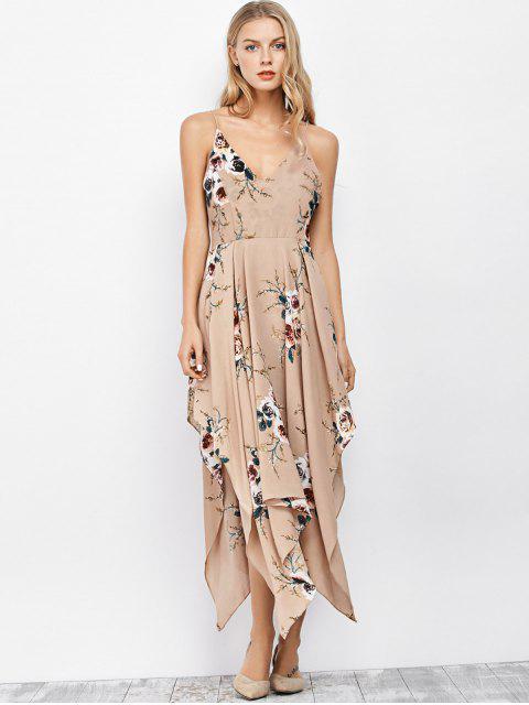 trendy Floral Maxi Handkerchief Casual Slip Dress - APRICOT L Mobile