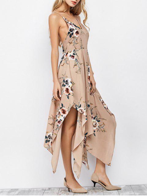 Robe Mouchoir Longue Imprimée Florale à Bretelles - Abricot L Mobile