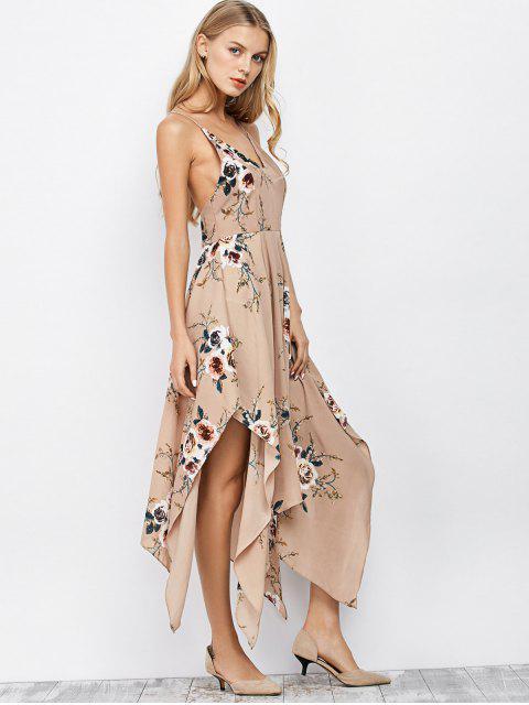 chic Floral Maxi Handkerchief Casual Slip Dress - APRICOT S Mobile