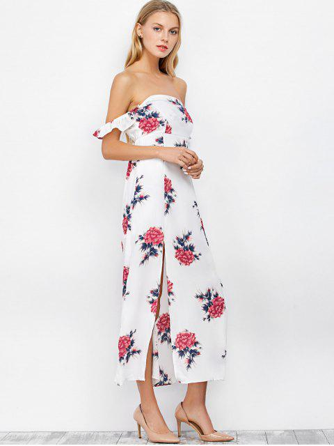 ladies Maxi Floral Backless Off Shoulder Slit Dress - WHITE M Mobile
