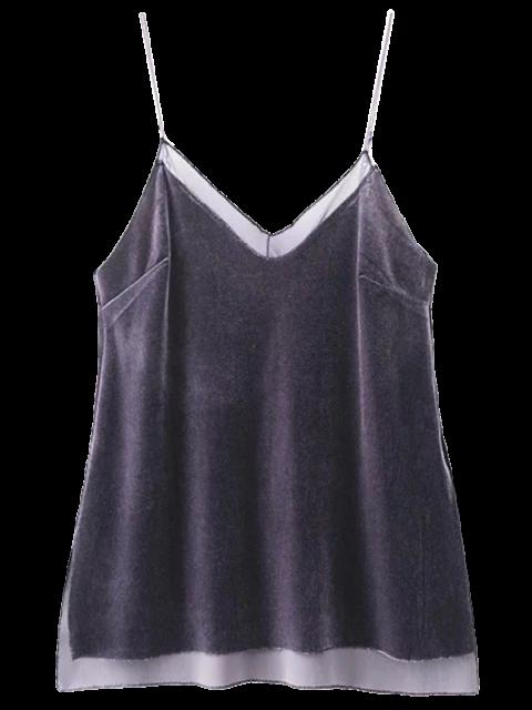 chic Mesh Trimmed Velvet Cami Top - SMASHING L Mobile
