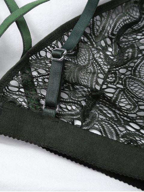 womens Crosscriss Cut Out Lace Bra - GREEN M Mobile