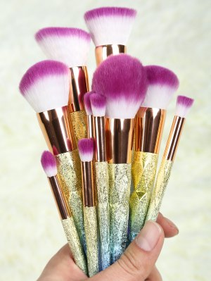 Glitter Makeup Brushes Set - Rose Gold