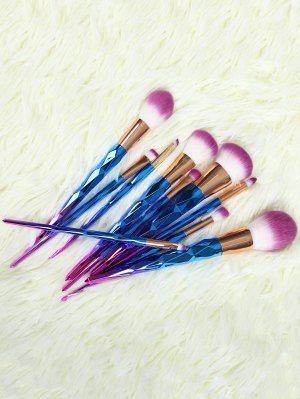 Ombre Fiber Makeup Brushes Set - Blue