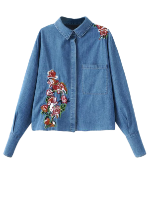 Oversized Embroidered Denim Shirt - Denim Blue M