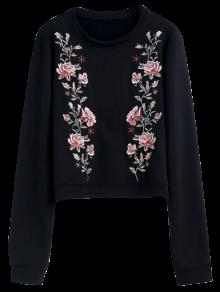Relaxed Crew Neck Embroidered Sweatshirt - Black M