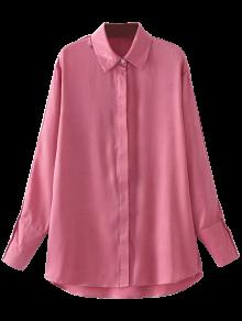 Sateen Floral Embroidered Shirt - Pink S