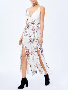 Criss Cruz Alta Slit Maxi Floral Flowy Jumpsuit - Blanco Xl